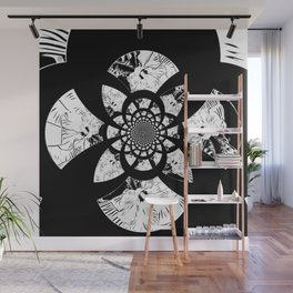 Floral Abstract In Black And White Wall Mural