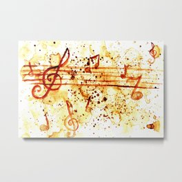 Coffee stains and music notes Metal Print
