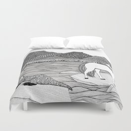 A Meeting by the Water--B&W Duvet Cover