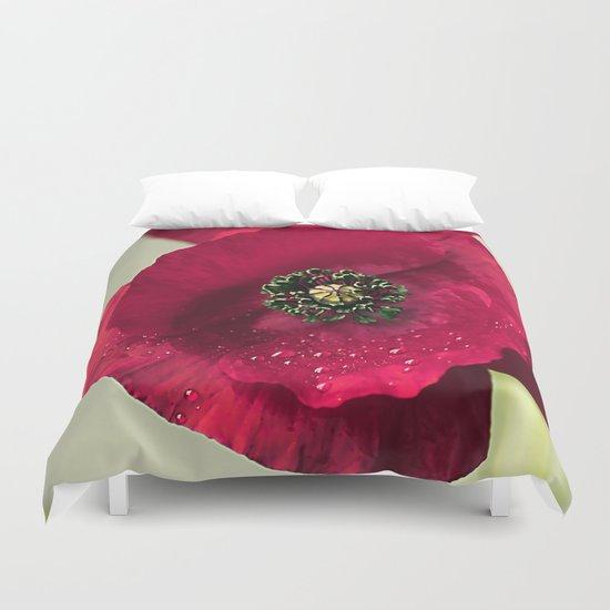 Poppies(velvet). Duvet Cover