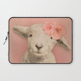 Flower Sheep Girl Portrait, Dusty Flamingo Pink Background Laptop Sleeve