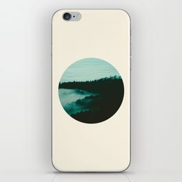 Forest Mountains & Fog Circle Photo iPhone Skin