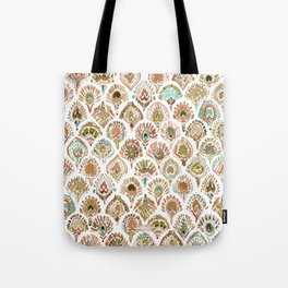 PEACOCK MERMAID Rose Gold Mint Scales and Feathers Tote Bag