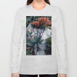 Succulent Garden Coral Orange and Green Long Sleeve T-shirt