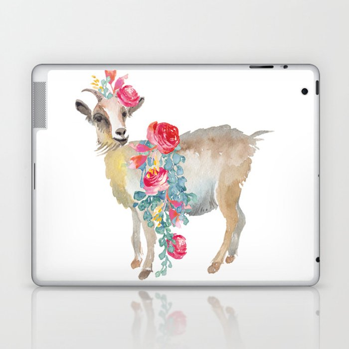 goat with flower crown Laptop & iPad Skin