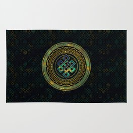 Marble and Abalone Endless Knot  in Mandala Decorative Shape Rug