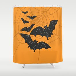 Flying Bats orange Shower Curtain