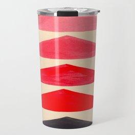 Vintage Scandinavian Red Geometric Triangle Pattern Travel Mug