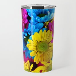 Daisy Flowers, Petals, Blossoms - Blue Yellow Pink Travel Mug