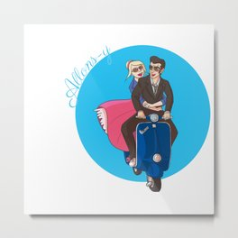 Rose and The Doctor Riding on a Vespa Metal Print