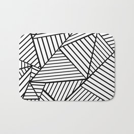 Abstraction Lines Close Up Black and White Bath Mat