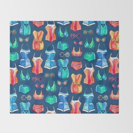 Sixties Swimsuits and Sunnies on dark blue Throw Blanket