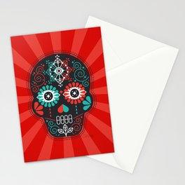 Día de Muertos Calavera • Mexican Sugar Skull – Black & Turquoise on Red Starburst Stationery Cards