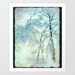 Abstract Trees snow covered Art Print