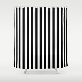 Stripe Black And White Vertical Line Bold Minimalism Shower Curtain