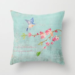 My favorite weather - Romantic Birds Cherryblossoms and Spring Typography on aqua Throw Pillow