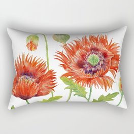 Watercolor Fringed Red Poppies Rectangular Pillow