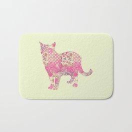 Burmese Cat Vintage Floral Pattern Pink Cream Shabby Chic Bath Mat