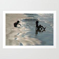 Children by the Sea Palolem Art Print
