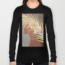 Woman with Golden Palm Leaf Long Sleeve T-shirt