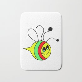 Friendly drawn bee for children and adults Bath Mat