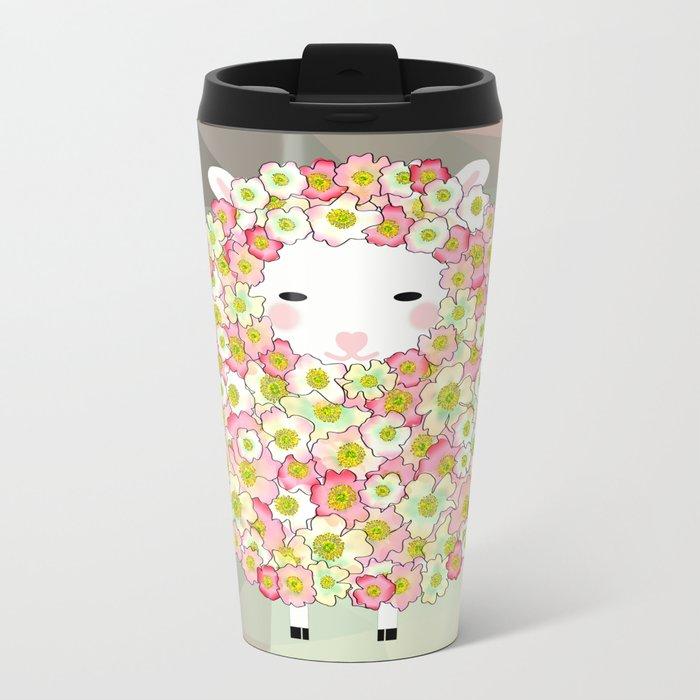 Pastel Tone Flowery Sheep Design Metal Travel Mug