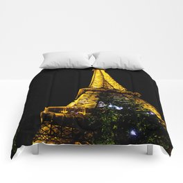 Eiffel Tower lit up at night, Paris Comforters