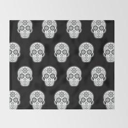 Día de Muertos Calavera • Mexican Sugar Skull – White on Black Palette Throw Blanket