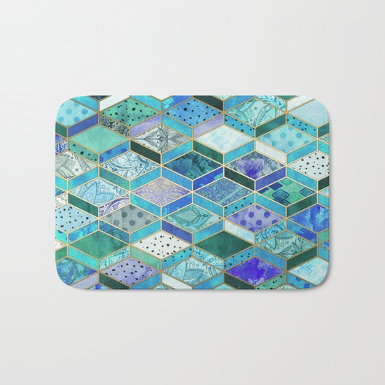 Sapphire & Emerald Diamond Patchwork Pattern Bath Mat
