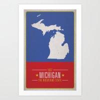 michigan Art Prints featuring MICHIGAN by Matthew Justin Rupp