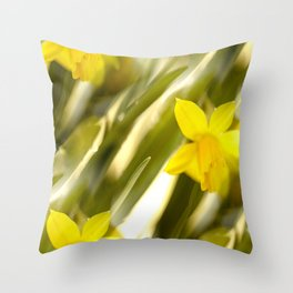 Spring atmosphere with yellow narcissus Throw Pillow