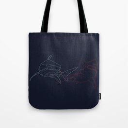 Blue and Red Sharks Tote Bag