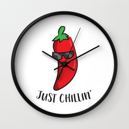 Just Chillin Love Chilis Cinco De Mayo Funny Chili Wall Clock
