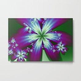 Purple Blue and Green Flowers Metal Print
