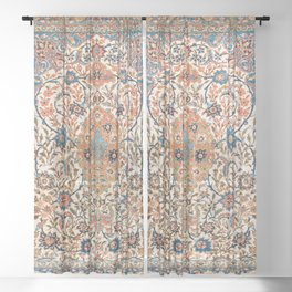 Isfahan Antique Central Persian Carpet Print Sheer Curtain