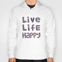 snorlax Hoodies featuring Live Life Happy Poster by koppen Code