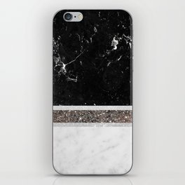 Black and White Marble Silver Glitter Stripe Glam #1 #minimal #decor #art #society6 iPhone Skin
