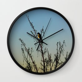 Evening song bird at sunset Wall Clock