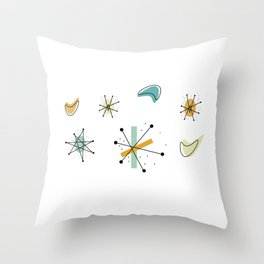 1950s Retro Atomic Pattern Throw Pillow