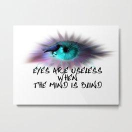Turquoise Eye Crow Lightning Tear A106 Metal Print