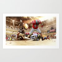 ohio state Art Prints featuring Ohio State by Rosaria B