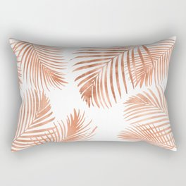 Rose Gold Palm Leaves Rectangular Pillow