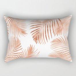 Rose Gold Palm Leaves Rectangular Pillow