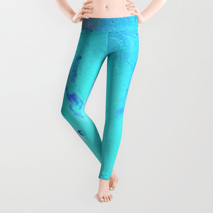 Neon Winter Rose, Abstract In Nature, Ice Blue Leggings