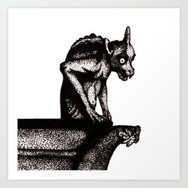 Black Gargoyle Art Print