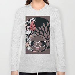 Afro Diva : Sophisticated Lady Pale Pink Peach Taupe Long Sleeve T-shirt