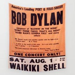 Vintage 1965 Waikiki Shell Hawaii Bob Dylan Concert Poster Wall Tapestry