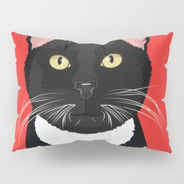 Tuxedo Cat Art Poster by Artist A.Ramos. Designed in Bold Colors. Perfect for Pet Lovers Pillow Sham