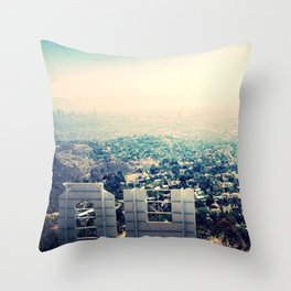 From over the Hollywood Sign Throw Pillow
