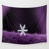 snowflake Wall Tapestries featuring Snowflake Royale by Bella Mahri-PhotoArt By Tina